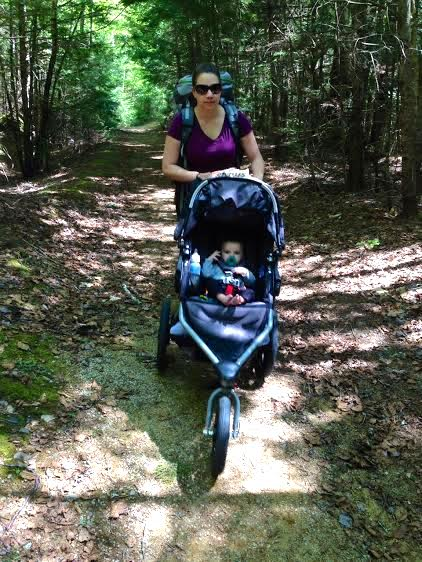 Natalie Feulner hikes down to Donnell Pond Public Reserved Land with her daughter and gear in tow.