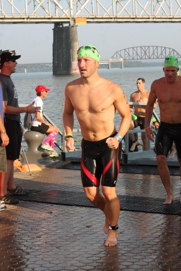 Sean Kull of Bangor finishes the swimming portion of Ironman Louisville in 2012. Kull is training for Ironman Lake Tahoe, which is set for Sunday, Sept. 21.