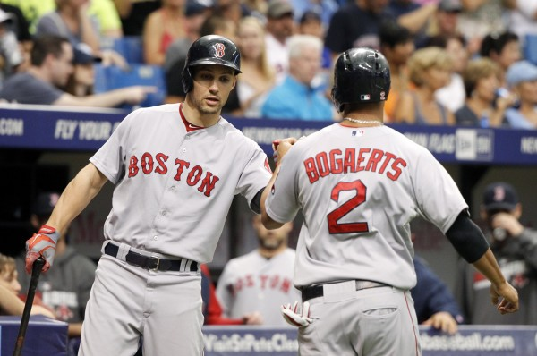 Boston Red Sox shortstop Xander Bogaerts (2) is congratulated by center fielder Grady Sizemore (left) after he scored  run during the first inning at Tropicana Field in this May 24 photo.