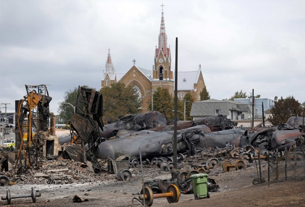 Wagons of the train wreck are seen in Lac-Megantic, Canada in this July 9, 2013 file photo.