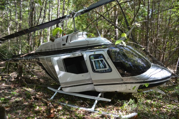 The pilot of this OH-58A helicopter, registered to Whitefield-based Maine Helicopters, Inc., was able to walk away under his own power after the machine crashed in the woods in Whitefield the afternoon of May 30.