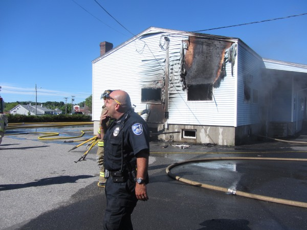 Rockland firefighters, assisted by departments from the region, were battling a major fire Sunday morning at the Redlon & Johnson heating and plumbing supply store in downtown Rockland.