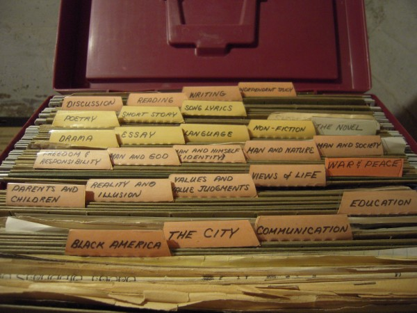 A collection of the teaching files of Kathryn Olmstead that she recently looked at in her home.