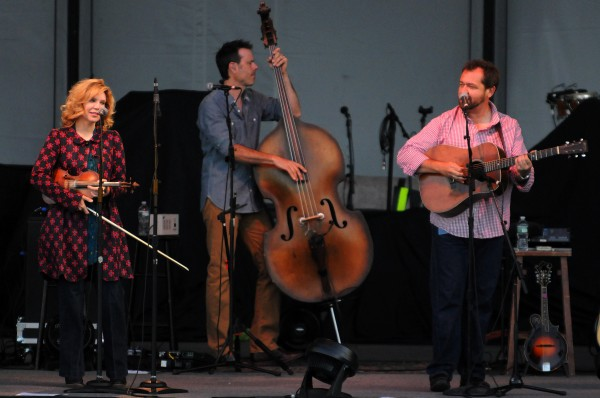 Alison Krauss (left) plays with Union Station and Jerry Douglas on Thursday at Darling's Waterfront Pavilion in Bangor.