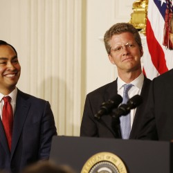 President Barack Obama announces that Secretary of HUD Shaun Donovan (C) will be his choice as the new Director of OMB, and San Antonio Mayor Julian Castro (L) will be his choice as the new Secretary of HUD, in the State Dining Room at the White House in Washington May 23, 2014.