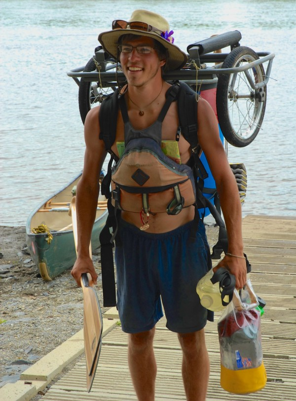 Eric McIntyre had a system for transporting his gear throughout his 38 days on the Northern Forest Canoe Trail. Traveling alone for the most part, McIntyre faced numerous overland portages along the 740-mile route which he completed Saturday in Fort Kent.