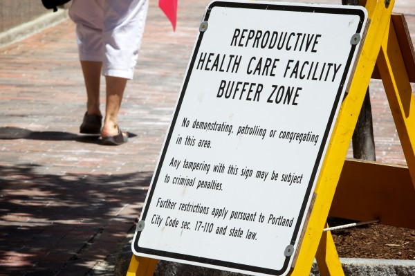 Planned Parenthood's controversial buffer zone sign in Portland.