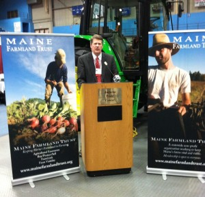 Maine Farmland Trust Executive Director John Piotti speaks before the Agricultural Trade Show in Augusta in January 2012.