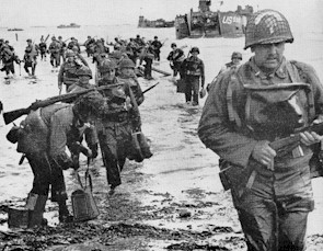 Soldiers in the U.S. Army's Quartermaster Corps hit the beach in France on D-Day in 1944.
