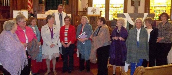 Shawl ministry members and recipients, from left, are Bess Thornton, Debbie Nichols, Bobbi Pelletier, Carol Doody, Jolene Reitmeyer, Diane Fitzpatrick, Eloise Penny, Audrey Bubar, Brenda Curtis, Barbara VanKirk and Norma Thompson.