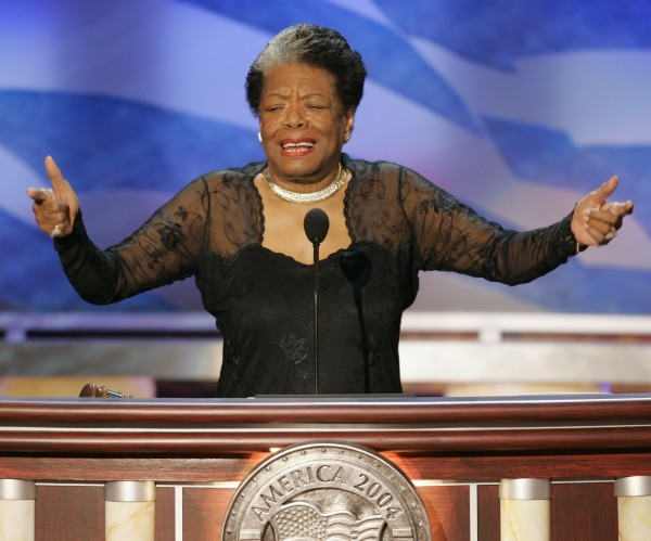 African-American author and poet Maya Angelou speaks before delegates during the second night of the 2004 Democratic National Convention at the FleetCenter in Boston, Massachusetts. She was 86 when she died at her home on May 28.