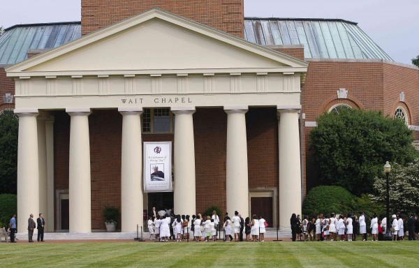 Mourners enter Wait Chapel for the memorial service for Maya Angelou at Wake Forest University in Winston-Salem, North Carolina, on June 7, 2014. She was 86 when she died at her home on May 28.