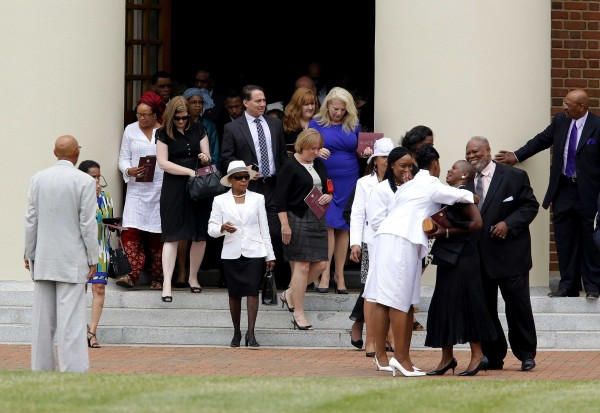 Mourners leave Wait Chapel after the memorial service for Maya Angelou at Wake Forest University in Winston-Salem, North Carolina, on June 7, 2014. She was 86 when she died at her home on May 28.