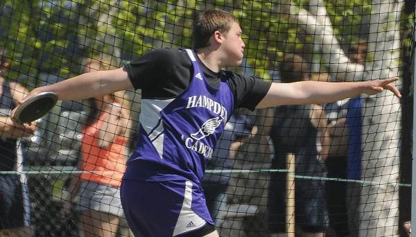 Jarid Spencer of Hampden Academy threw the discus 140 feet, 2 inches to take second place in the event during Saturday''s PVC Large School Track and Field Championships in Caribou.