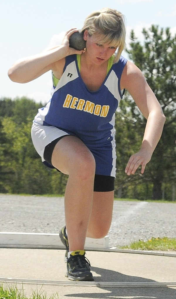 Gretchen Spencer of Hermon placed third in the shot put at Saturday''s PVC Large School Track and Field Championships at Caribou High School.