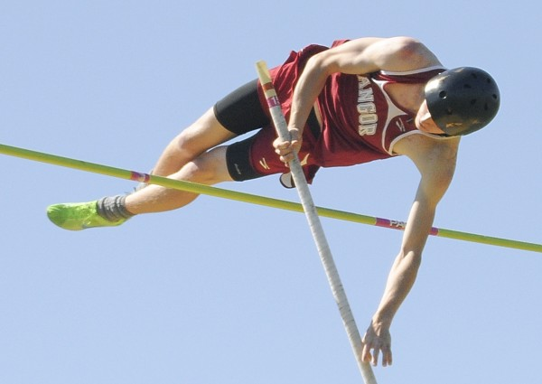 Garrett Johnson of Bangor cleared a height of 12 feet to take first place in the pole vault at the PVC Large School Track and Field Championships Saturday at Caribou High School.