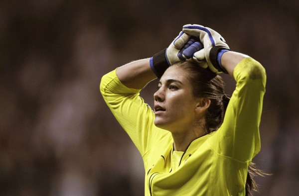 U.S. goalkeeper Hope Solo reacts after being defeated in a penalty shootout against Japan during their Women's World Cup final soccer match in Frankfurt in this file photo. Solo was arrested June 20, 2014 for allegedly striking her sister and her nephew during a dispute at her home in a Seattle suburb, police told the Seattle Times.