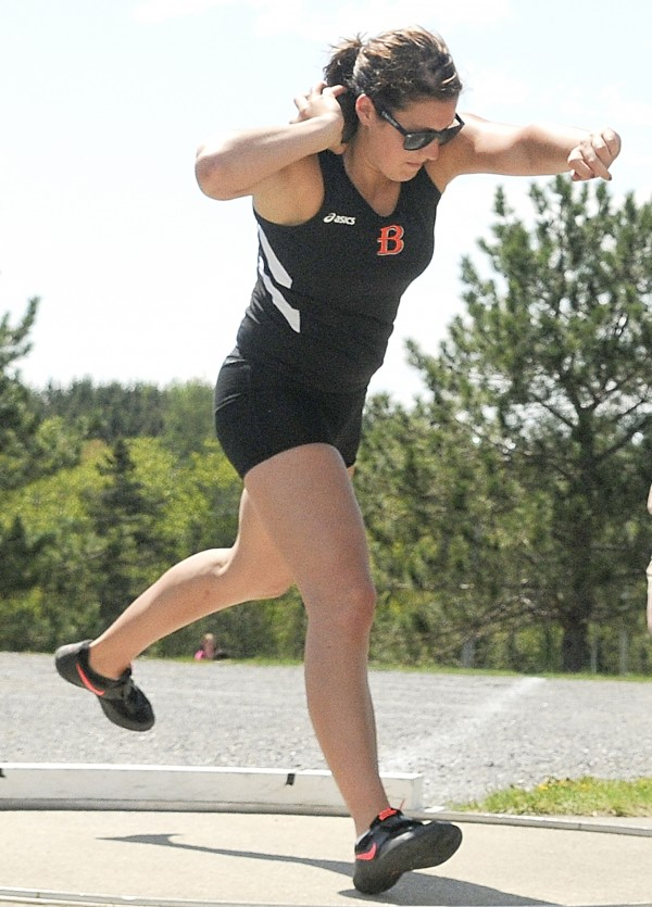 Candace Doughty of Brewer placed second in the shot put at Saturday's PVC Large School Track and Field Championships at Caribou High School.