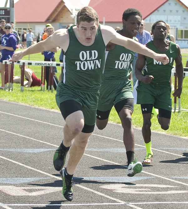 Nicholas Boutin (left) of Old Town was the winner in the 100-meter dash at Saturday''s PVC Large School Championships held in Caribou.