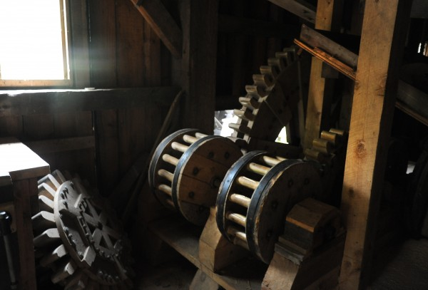 The drive mechanism of the water-powered sawmill at the Maine Forest and Logging Museum in Bradley.