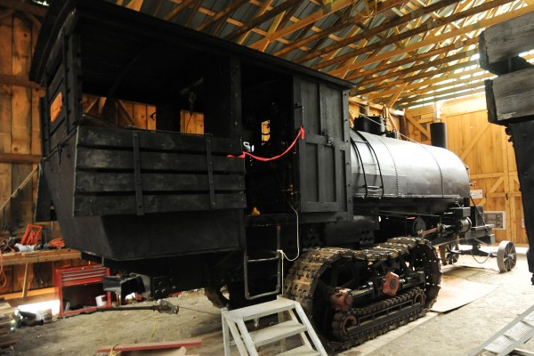 The Lombard log hauler owned by the Maine Forest and Logging Museum in Bradley. Volunteers spent decades restoring the steam-powered machine to functional condition.