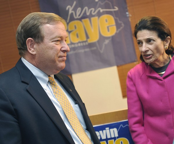 Kevin Raye, left, and his former boss U.S. Sen. Olympia Snowe  discuss election night details at Raye's campaign night headquarters in Bangor, Maine, Tuesday, Nov. 6, 2012.
