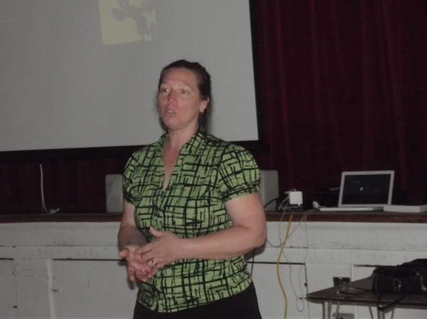 Lisa Gadway, administrative assistant for MSAD 49 school system in Fairfield, conducts a workshop on positive communications at a regional safety conference for school bus drivers on Wednesday at Narraguagus High School in Harrington.