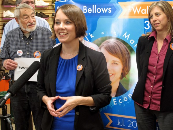 Shenna Bellows, the Democratic candidate for U.S. Senate, announces her 350-mile &quotWalk with Maine for Jobs and the Economy&quot at Lamey-Wellehan Shoes in Augusta on June 6.