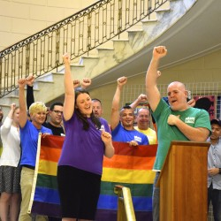 Members of Pride Portland kicked off their 10-day celebration of Portland's LGBTQ community with a rally and press conference at Portland City Hall on Friday evening.