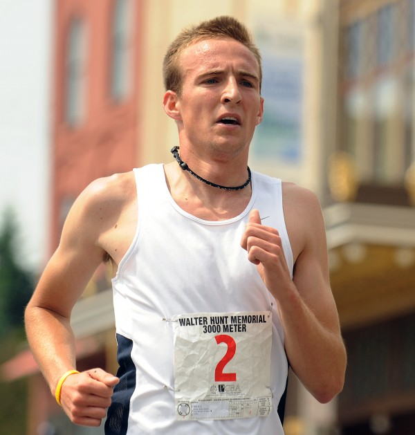 Riley Masters races to victory in the 31st annual  Walter Hunt Memorial Fourth of July 3K in Bangor in this 2011 photo.