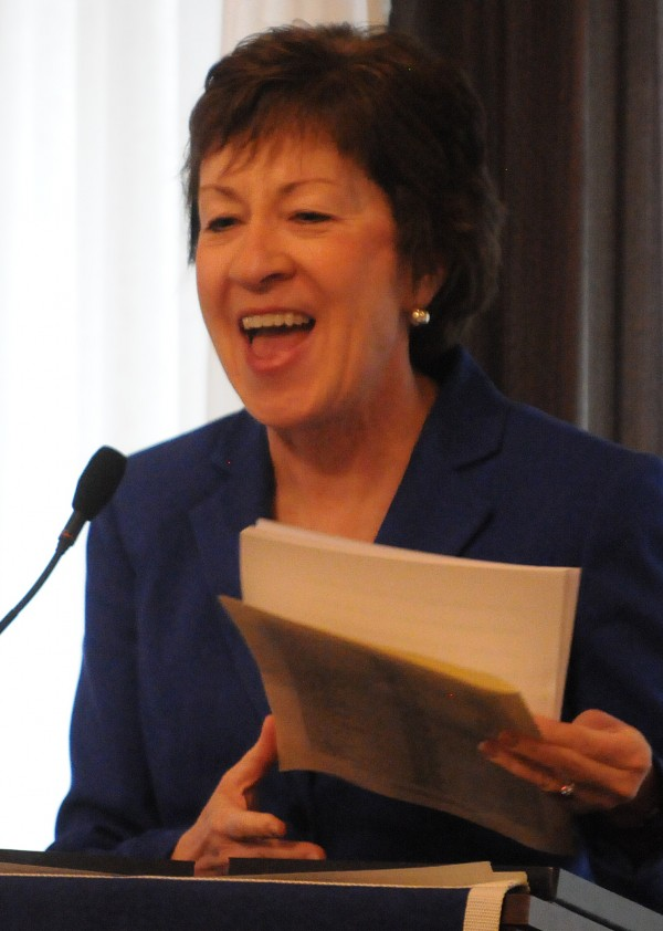 Senator Susan Collins speaks to a packed room of high school seniors and principals during the MPA Honors Luncheon and Awards held at Spectacular Events Center in Bangor on Saturday.