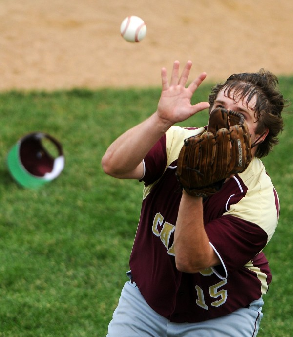 BANGOR, MAINE -- 06/21/14 -- Caribou's Sean Sadler catches a pop-up ball from Greely for an out during their Class B baseball state championship game at Mansfield Stadium Saturday. Greely won 1-0.