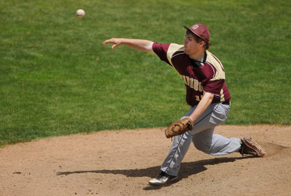 BANGOR, MAINE -- 06/21/14 -- Caribou's Sean Sadler pitches to Greely during their Class B baseball state championship game at Mansfield Stadium Saturday. Greely won 1-0.