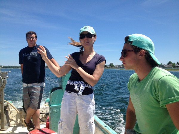 Abigail Carroll of Nonesuch Oysters gives tours of her farm on the Scarborough River.