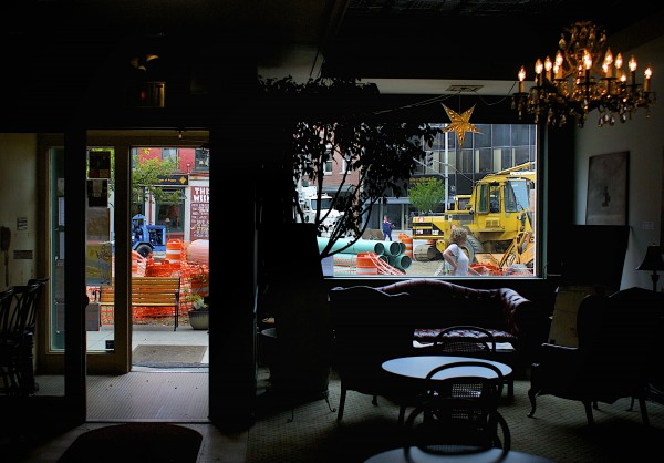 Construction can be seen Friday from inside the Charles Inn in Bangor.