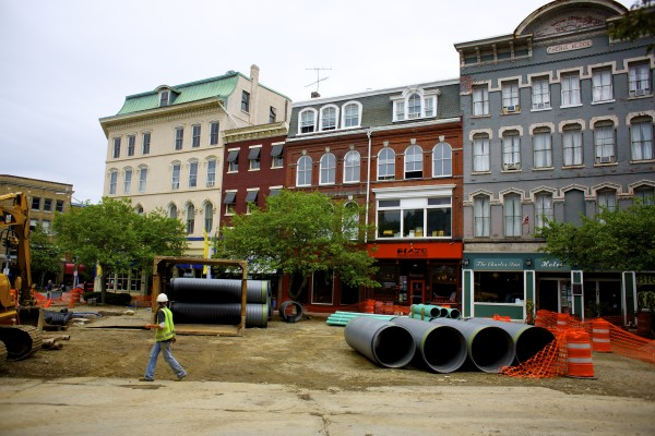 Some businesses in West Market Square have seen a drop in consumers because of the construction project. Crews are expected to be finished sometime in late August or early September.