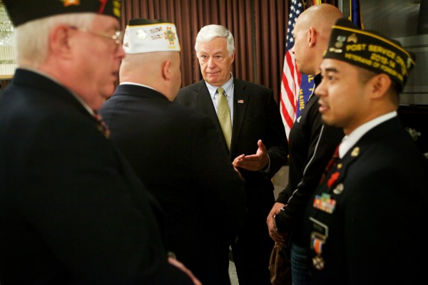 Rep. Mike Michaud speaks to reporters and veterans at Veterans of Foreign Wars, Deering Memorial Post 6859 in Portland on May 23.