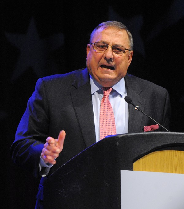 Governor Paul LePage speaks during the second day of the 2014 Maine Republican Convention at the Cross Insurance Center in Bangor on April 26.