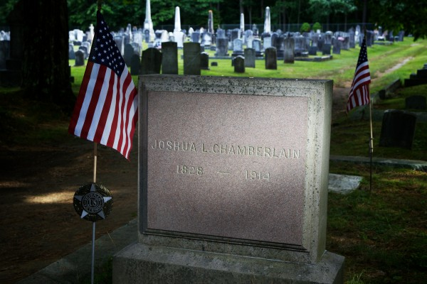 The grave of Joshua Chamberlain stands in Brunswick's Pine Grove Cemetery on Thursday afternoon. Civil War history buff Dean Clegg is raising money to place a marker in Petersburg, Virginia, marking the spot where Chamberlain was wounded in 1864 — a wound he would later die from in 1914.