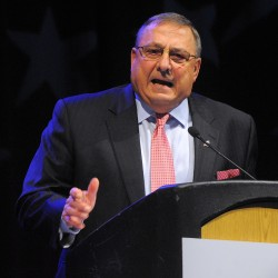 Gov. Paul LePage speaks at the 2014 Maine Republican Convention at Cross Insurance Center in April.