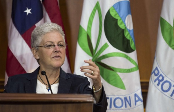 Environmental Protection Agency Administrator Gina McCarthy announces steps under the Clean Air Act to cut carbon pollution from existing power plants during a news conference in Washington on June 2, 2014.