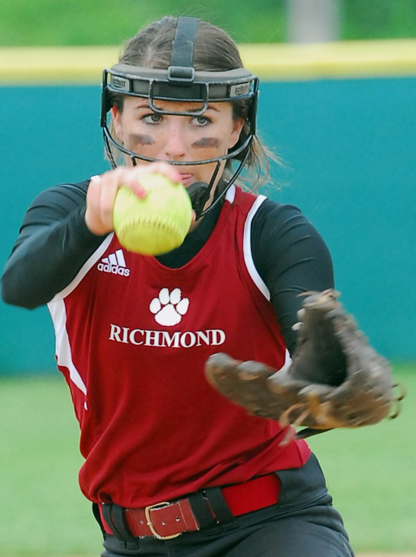 Richmond High School pitcher Meranda Martin prepares to deliver a pitch to a Limestone batter during the Class D state softball final at Coffin Field in Brewer Saturday.