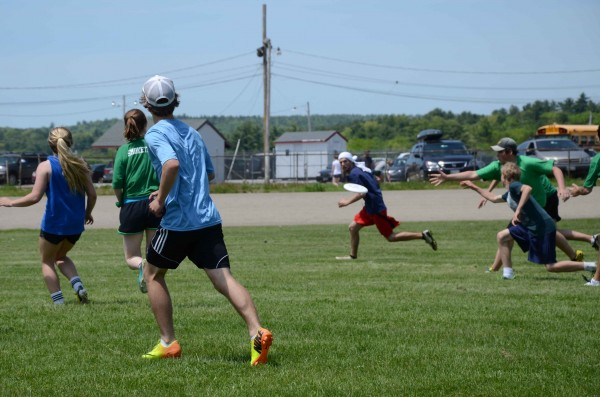 The Belfast Ultimate Frisbee high school club team plays a match on Saturday at the Class B state championships in Portland.