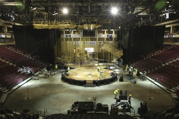Production crews set up the Cirque du Soleil Varekai show Tuesday at the Cross Insurance Center.