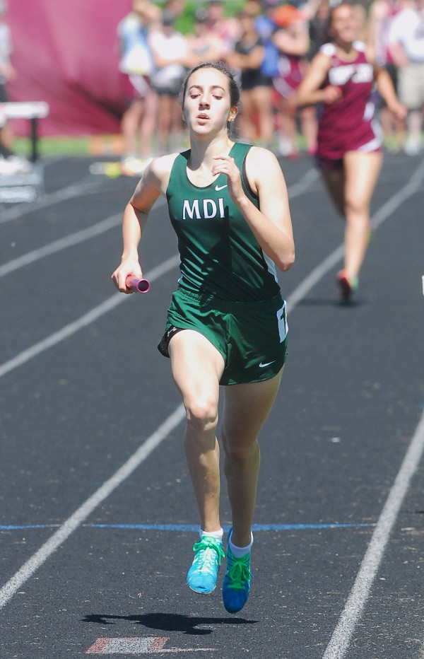 MDI's Isabel Erickson finishes with a time of 2:20 in the 4x800 Relay at the 2014 Class B Track and Field Championship Meet at the Brewer Community Track on Saturday.