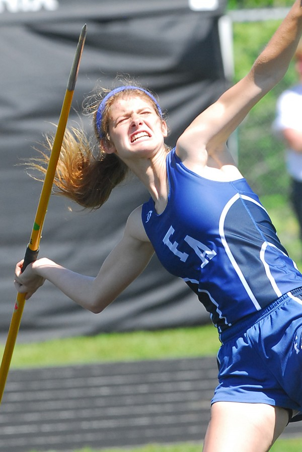 Fryeburg Academy's Elizabeth Grzyb throws the javelin for 95 feet, 7 inches at the 2014 Class B Track and Field Championship Meet at the Brewer Community Track on Saturday.