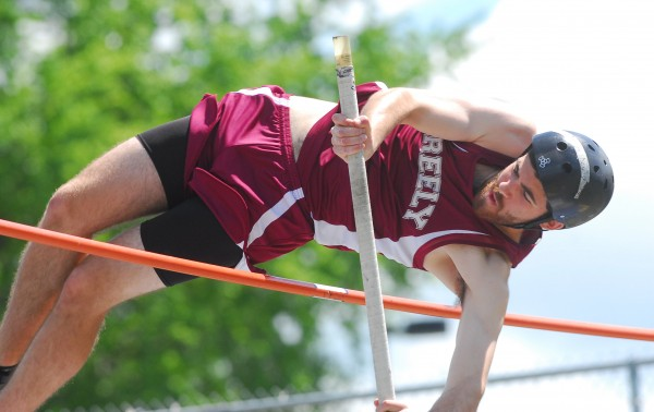 Ben Ray for Greely High School clears 11 feet, 6 inches in the pole vault at the 2014 Class B Track and Field Championship Meet at the Brewer Community Track on Saturday.