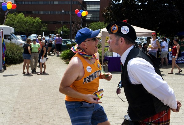 Byron Gray (left) and David Weeda dance during the Bangor Pride Festival.