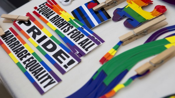 Pride stickers are seen during the Bangor Pride Festival. The festival allowed the city to honor and celebrate its LGBT community.