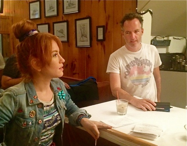Director Kyle Rankin, a York native, talks to actress Maria Thayer on the set of &quotNight of the Living Deb&quot in Portland Wednesday.